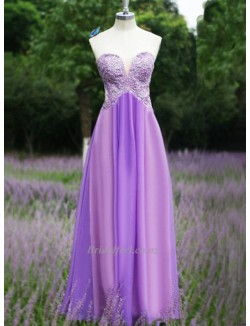 2018 New Floor Length Lavender Chiffon Formal Evening Fresses Sexy Sweetheart Lace Sequins Beaded Bridesmaid