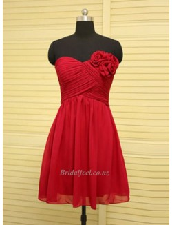 2018 New Short Red Chiffon Bridesmaid Dress A Line Sweetheart Knee Length Dress With Flower