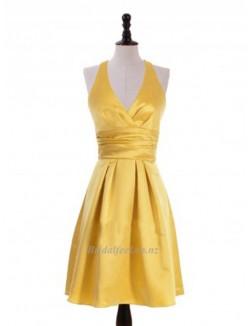 2018 New Short Gold Bridesmaid Dress Halter Top Short Prom Dress