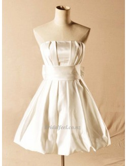 2018 New Short Bridesmaid Dress A Line Strapless Ivory Dress With Bowknot