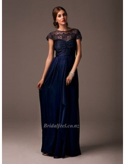 2018 New Dark Navy Chiffon Long Prom Dress A Line Formal Prom Evening Dresses Floor Length