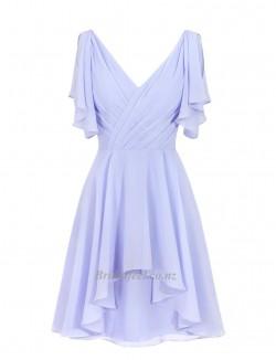 Elegant Knee Length V Neck Short Sleeves Bridesmaid Dress With Ruching