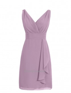 Simple Knee Length V Neck With Criss Cross Bridesmaid DressParty Dress
