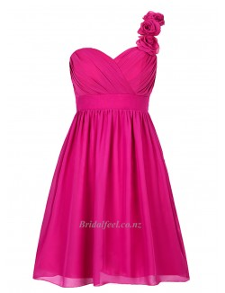 Knee Length Pink With Criss Cross One Shoulder Queen Lagerstroemia Bridesmaid Dress