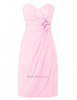 Simple Long Pink Chiffon Bridesmaid Dress Cloumn Strapless With Criss Cross Queen Lagerstroemia Formal Dress