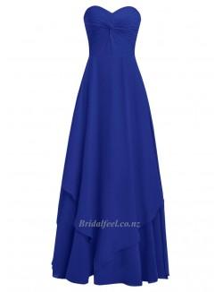 Simple Floor Length Blue Chiffon Bridesmaid Dress Column Strapless Formal Dress