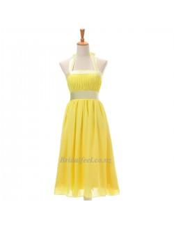 Elegant Knee Length Yellow Chiffon Halther Evening Dress