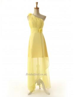 Asymmetrical Yellow Zipper Back One Shoulder Handmade Flowers Bridesmai Dress