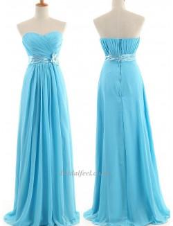 Simple Floor Length Blue Chiffon Zipper Back Column Strapless Formal Dress