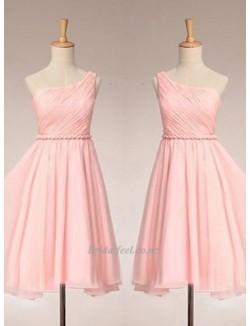 One Shoulder Knee Length Pink Zipper Back Bridesmaid Dress