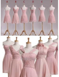 Simple Knee Length Pink Chiffon Bridesmaid Dress Party Dress