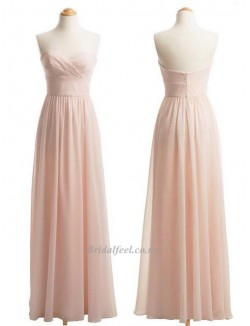 Simple Floor Length Chiffon Zipper Back Column Strapless Bridesmaid Dress