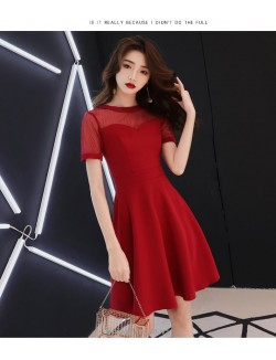 Fashion Knee Length Crew Neck Short Sleeves Invisible Zipper Back Cocktail Party Dress