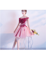 A Line Short Lace Up Off The Shoulder Pink Tulle Bridesmaid Dress With Ribbons Appliques