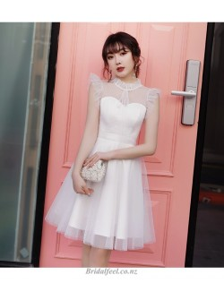 Elegant Zipper Back Bridesmaid Dress Fashion Stand Collar Short White Tulle Cocktail Party Dress