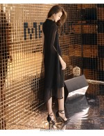 Sheath Column Knee Length Black Chiffon Bridesmaid Dress Fashionable And Novel Shoulder Strap Zipper Back Prom Dress With Side Slit