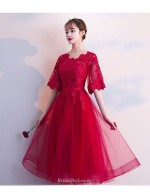 A Line Medium Length Burgundy Tulle Bridesmaid Dress Half Sleeves Lace Up Party Dress With Appliques