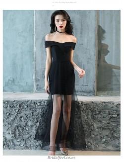 Sexy Floor Length Off The Shoulder Zipper Back Black Bridesmaid Prom Dress