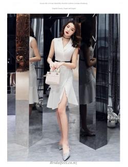 Elegant Medium Length White Bridesmaid Dress Suit Collar Zipper Back Prom Dress