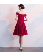 A Line Knee Length Burgundy Chiffon Cocktail Party DressOff The Shoulder Invisible Zipper Back Bridesmaid Dress