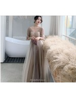 A Line Floor Length Tulle Bridesmaid Dress V Neck Half Sleevs Lace Up Prom Dress With Sequines