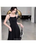 A Line Knee Length Black Bridesmaid Dress Spaghetti Straps Zipper Back Prom Dress