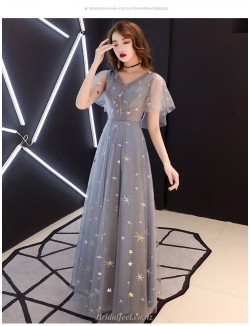 A Line Floor Length Grey Tulle Bridesmaid Dress V Neck Invisible Zipper Back Prom Dress