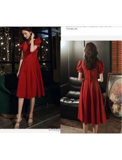 Glamorous Medium Length Red Bridesmaid Dress Square Neck Invisible Zipper Back Short Sleeves Evening Dress