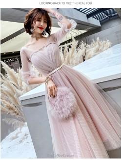Fashion Medium Length Pink Bridesmaid Dress V Neck Lace Up Half Sleeves Prom Dress