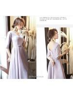 A Line Medium Length Pink Bridesmaid Dress V Neck Lace Up Half Sleeves Evening Dress