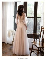 A Line Floor Length Champagne Tulle Bridesmaid Dress Crew Neck Invisible Zipper Long Sleeve Prom Dress