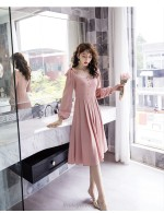 A Line Medium Length Pink Bridesmaid Dress Square Neck Long Sleeve Invisible Side Zipper Prom Dress