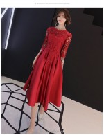 A Line Medium Length Burgundy Bridesmaid Dress Crew Neck Invisible Zipper Half Sleeve Party Dress