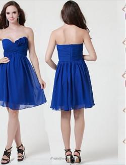 Simple Short Knee Length Blue Strapless Bridesmaid Dress
