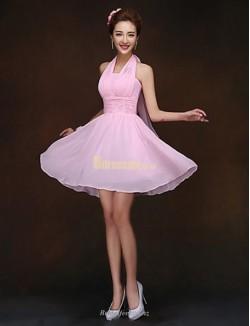 Short Mini Halter Neck Lace Up Pink Bridesmaid Dress