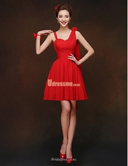 Queen Anne Short Knee Length Red Chiffon Bridesmaid Dress