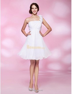 Elegant Short Knee Length White One Shoulder Beautiful Back Bridesmaid Dress
