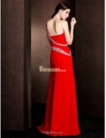 A Line Floor Length Red Chiffon One Shoulder Bridesmaid Dress With Beading