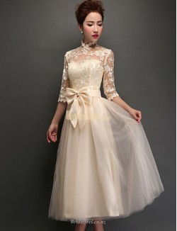 Elegant Knee Length Tulle Lace Up Half Sleeves Lace Collar Bridesmaid Dress With Bowkont