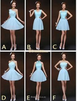 Fashion Short Mini Sky Blue Chiffon Bridesmaid Dress