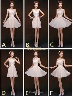 Fashion Short Mini Blushing Pink Chiffon Bridesmaid Dress