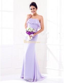 Fashion Sexy Sheath Column Sweep Brush Train Zipper Back Strapless Lavender Bridesmaid Dress
