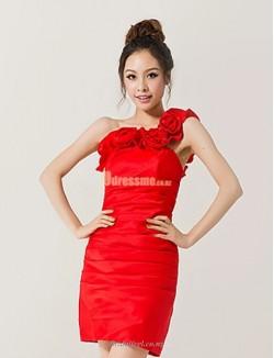 Sheath Column Short Red One Shoulder Whith Handmade Stereosopic Flowers Bridesmaid Dress