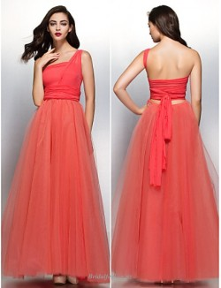 Fashion Backless Floor Length One Shoulder Tulle Bridesmaid Dress