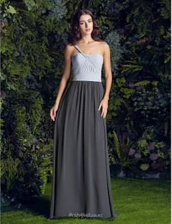 Fashion Floor Length One Shoulder Zipper Back Long Ribbon Bridesmaid Dress