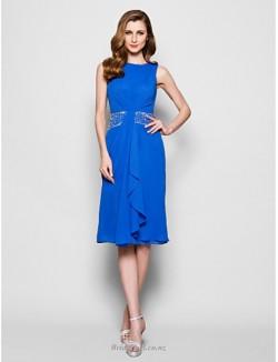 Simple Knee-Length A-line Blue Chiffon Bridesmaid Dress With Beading
