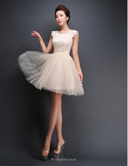 A-line Short Mini Tulle Bridesmaid Dress With Appliques