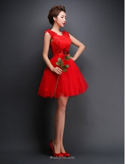 A-line Short Mini Red Tulle Lace-up Bridesmaid Dress With Appliques