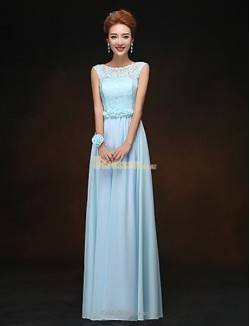 A-line Floor Length Sky Blue Chiffon Bridesmaid Dress  Lace Bodice Beautiful Back Formal Dress