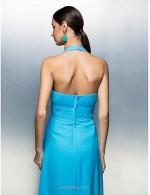A-line Floor Length Blue Chiffon Bridesmaid Dress Halter Neck Zipper Back